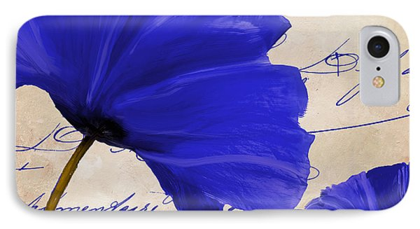 Coquelicots Bleue II IPhone Case by Mindy Sommers