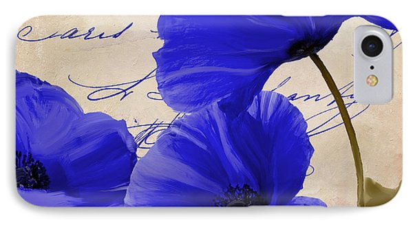 Coquelicots Bleue IPhone Case by Mindy Sommers