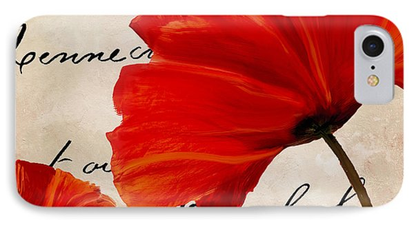 Coquelicots Rouge II IPhone Case by Mindy Sommers