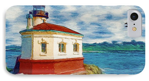 IPhone Case featuring the painting Coquille River Lighthouse by Jeff Kolker