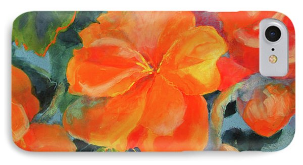 IPhone Case featuring the painting Coral Begonias by Kathy Braud