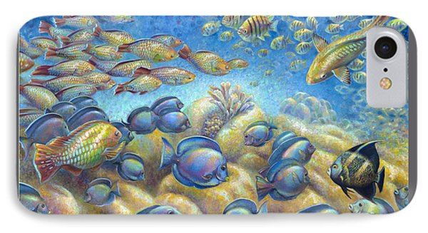 IPhone Case featuring the painting Coral Reef Life Silvers by Nancy Tilles