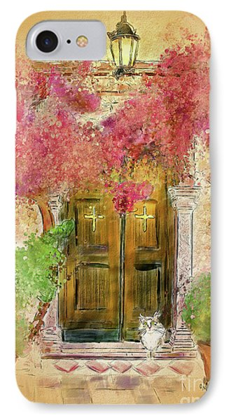 IPhone Case featuring the digital art Corfu Kitty by Lois Bryan
