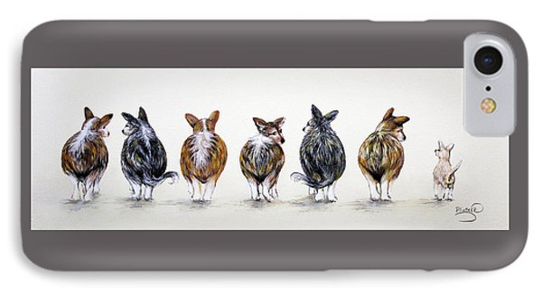 Corgi Butt Lineup With Chihuahua IPhone Case by Patricia Lintner