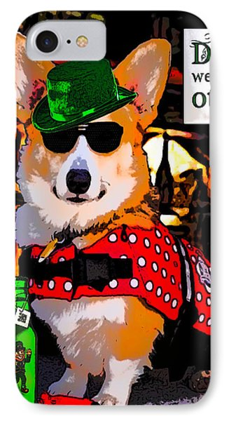 IPhone Case featuring the digital art Corgi - Drinks Well With Others by Kathy Kelly