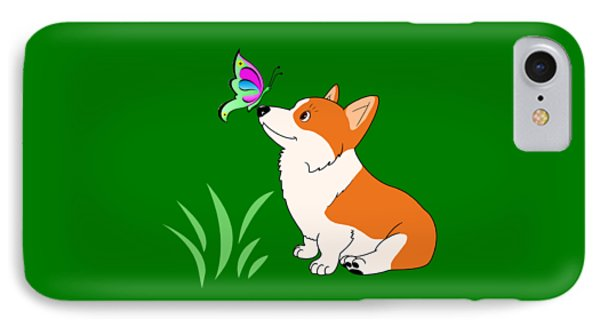 Corgi With Butterfly T-shirt IPhone Case