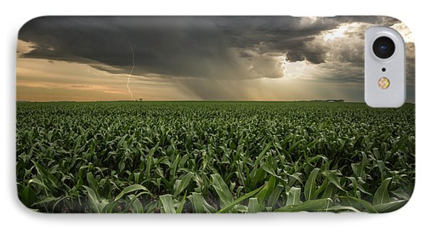 IPhone Case featuring the photograph Corn And Lightning by Aaron J Groen