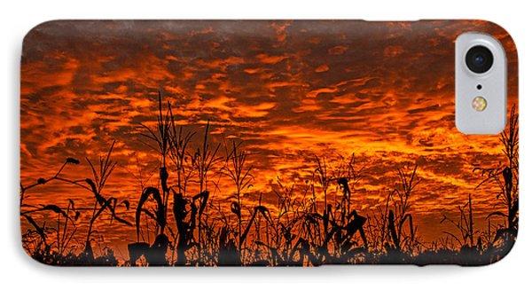 Corn Under A Fiery Sky IPhone Case by John Harding
