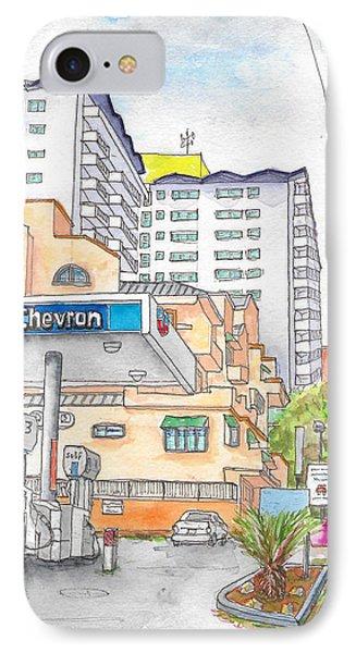 Corner La Cienega Blvd. And Hallway, Chevron Gas Station, West Hollywood, Ca IPhone Case by Carlos G Groppa
