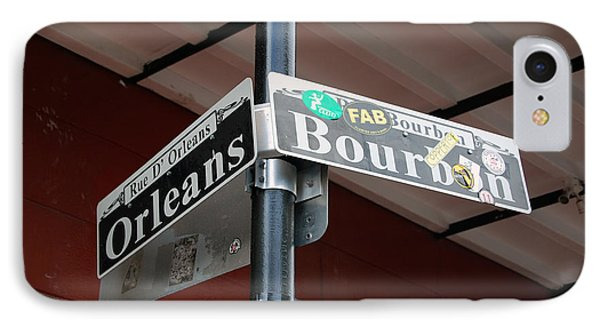 Corner Of Bourbon Street And Orleans Sign French Quarter New Orleans IPhone Case by Shawn O'Brien