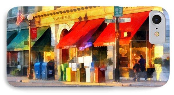Corner Of Center And Merchant Rutland Vt Phone Case by Susan Savad