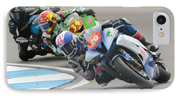 Cornering Motorcycle Racers Phone Case by Peter Hatter