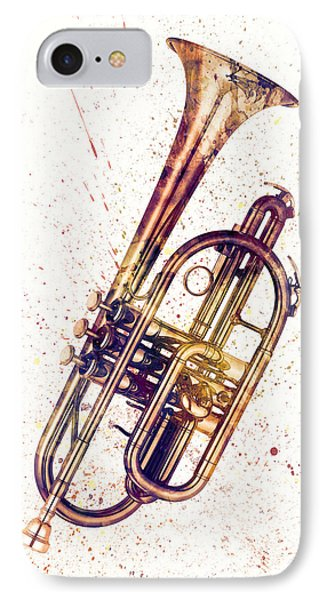 Cornet Abstract Watercolor IPhone Case by Michael Tompsett