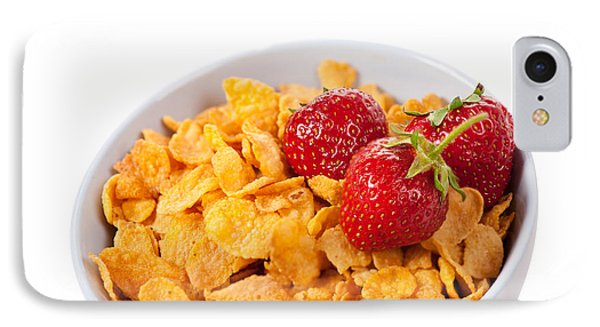 Cornflakes And Three Fresh Strawberries In Bowl  IPhone Case by Arletta Cwalina