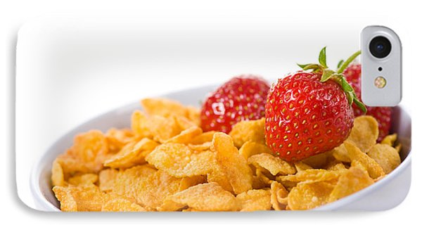 Cornflakes With Three Fresh Strawberries In Bowl  IPhone Case by Arletta Cwalina
