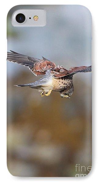 IPhone Case featuring the photograph Cornish Kestrel Hunting 2 by Nicholas Burningham