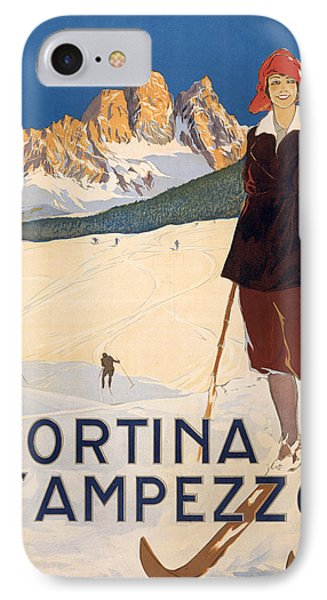 Cortina D'ampezzo Poster IPhone Case by Italian School