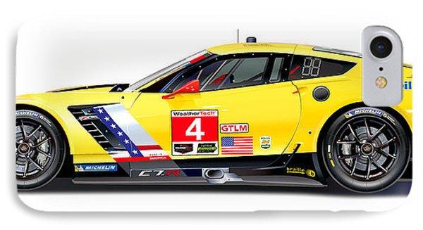 Corvette C7.r Lm Illustration IPhone Case by Alain Jamar