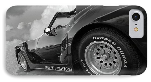 IPhone Case featuring the photograph Corvette Daytona In Black And White by Gill Billington