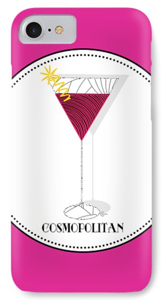 Cosmopolitan Cocktail Pop Art Deco  IPhone Case by Cecely Bloom