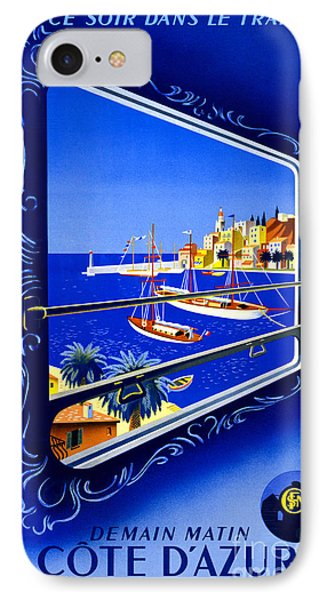 Cote D'azur Vintage Poster Restored IPhone Case