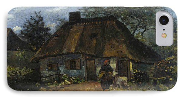 Cottage And Woman With Goat IPhone Case
