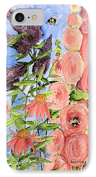 Cottage Garden Hollyhock Bees Blue Skie IPhone Case by Laurie Rohner