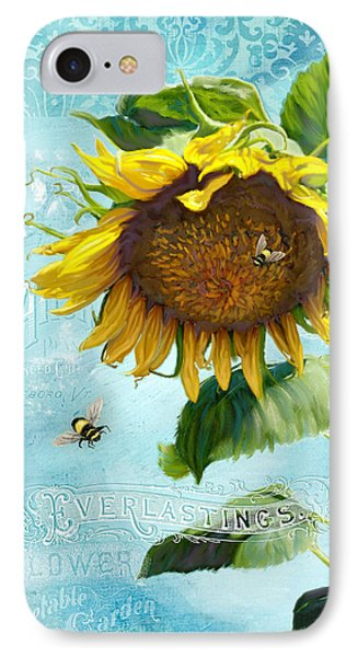 Cottage Garden Sunflower - Everlastings Seeds N Flowers IPhone Case by Audrey Jeanne Roberts