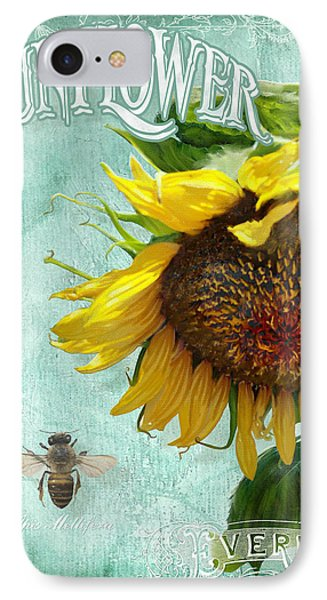 Cottage Garden - Sunflower Standing Tall IPhone Case by Audrey Jeanne Roberts