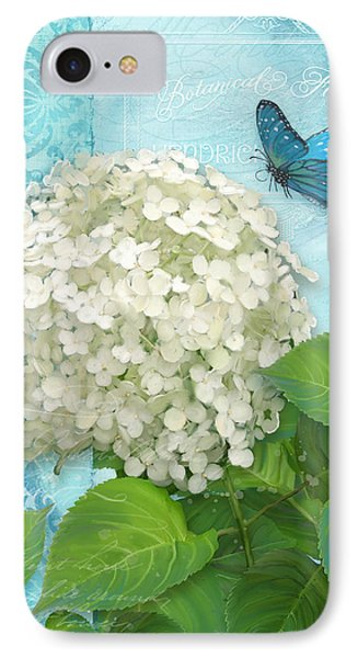 Cottage Garden White Hydrangea With Blue Butterfly IPhone Case