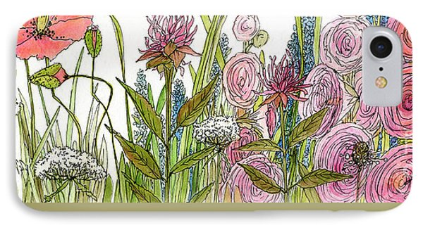 Cottage Hollyhock Garden IPhone Case by Laurie Rohner
