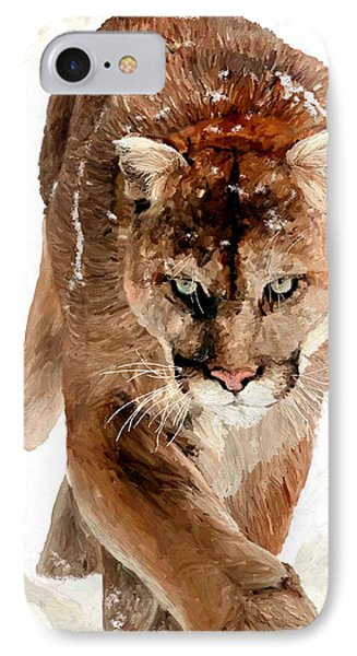 IPhone Case featuring the painting Cougar In The Snow by James Shepherd