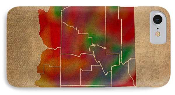 Counties Of Arizona Colorful Vibrant Watercolor State Map On Old Canvas IPhone Case by Design Turnpike