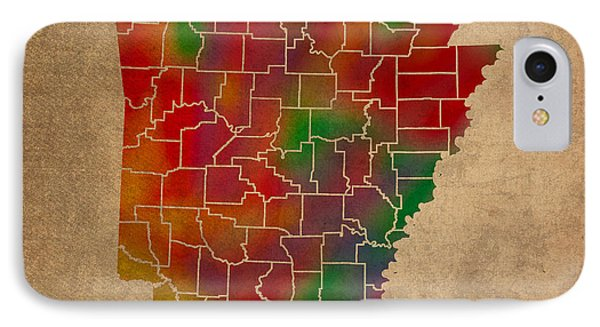 Counties Of Arkansas Colorful Vibrant Watercolor State Map On Old Canvas IPhone Case by Design Turnpike