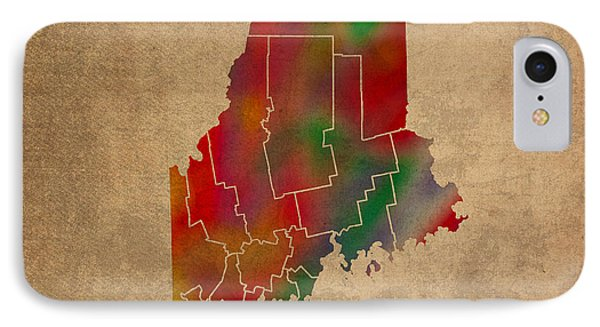 Counties Of Maine Colorful Vibrant Watercolor State Map On Old Canvas IPhone Case