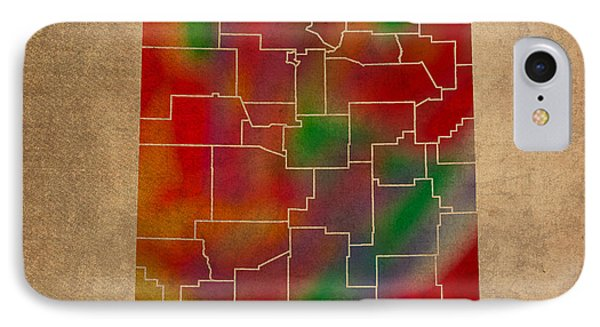 Counties Of New Mexico Colorful Vibrant Watercolor State Map On Old Canvas IPhone Case