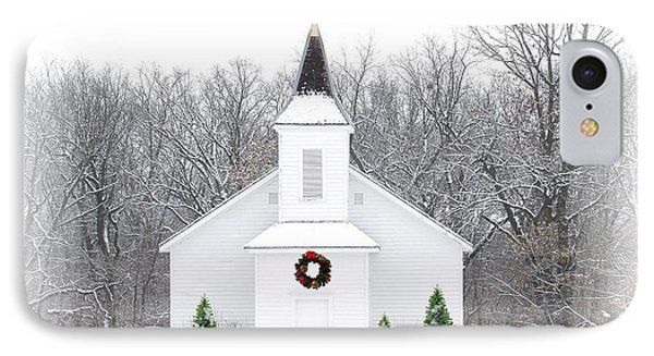 Country Christmas Church IPhone Case by Carol Sweetwood