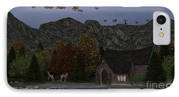 Country Church Autumn At Twilight IPhone Case by Methune Hively