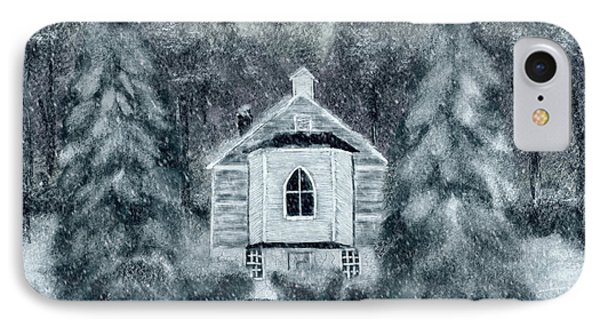 IPhone Case featuring the digital art Country Church On A Snowy Night by Lois Bryan