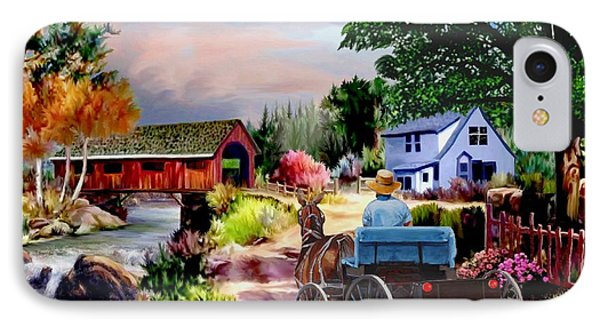 Country Covered Bridge V2 IPhone Case by Ron Chambers