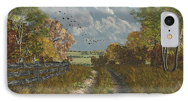 IPhone Case featuring the digital art Country Lane In Fall by Jayne Wilson