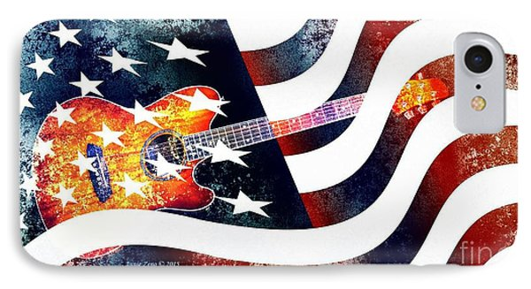 Country Music Guitar And American Flag IPhone Case