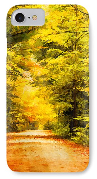 Country Road In Autumn Digital Art IPhone Case
