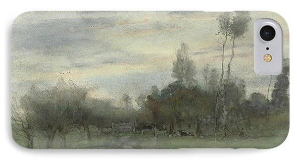 Country Road With Cows At Dusk IPhone Case