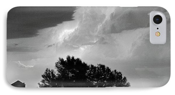 County Line Northern Colorado Lightning Storm Bw Pano IPhone Case