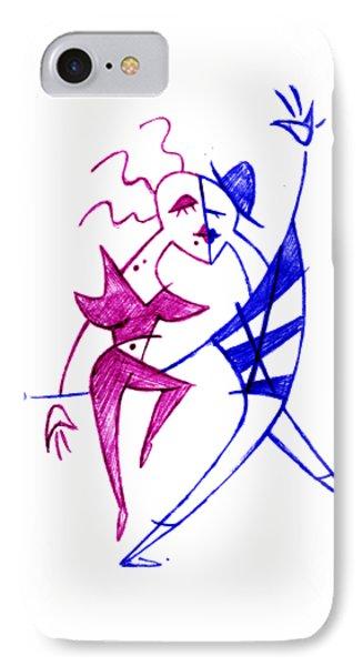 Couple In Love Dancing - Funny Illustration IPhone Case by Arte Venezia