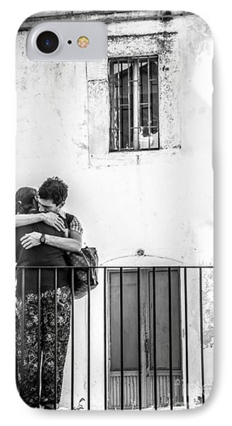 Couple Of Guys Hugging Leaning On A Railing - Black And White With Vignetting IPhone Case