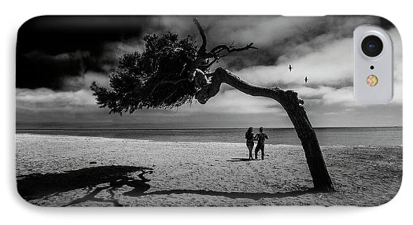 IPhone Case featuring the photograph Couple On Cabrillo Beach By Los Angeles California by Randall Nyhof