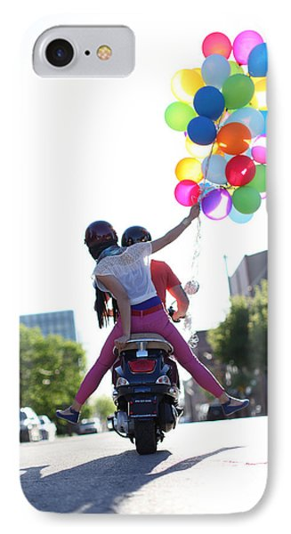 Couple On Motorcycle With Balloons IPhone Case by Gillham Studios