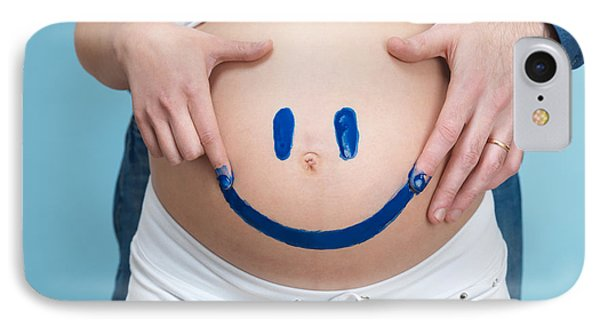 Couple Painting A Smiley On A Pregnant Woman's Belly Phone Case by Oleksiy Maksymenko